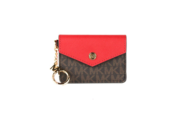 Kala Small Signature Leather Flap Key Ring Card Case (Flame)