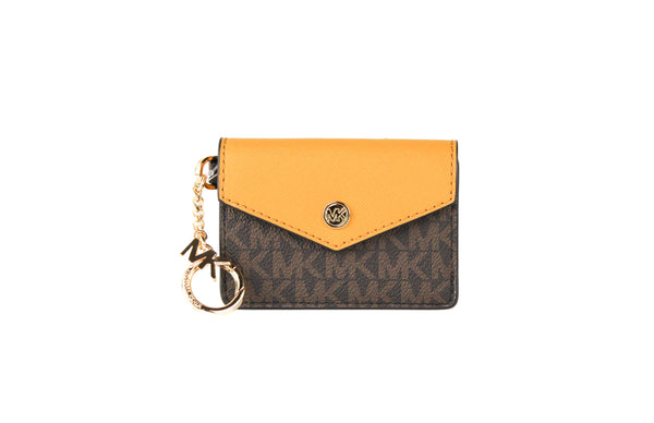 Kala Small Signature Leather Flap Key Ring Card Case (Marigold)