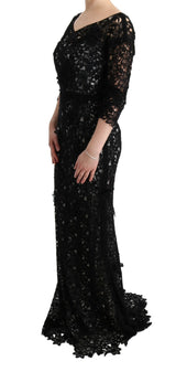 Black Cotton Silk Floral Long Dress