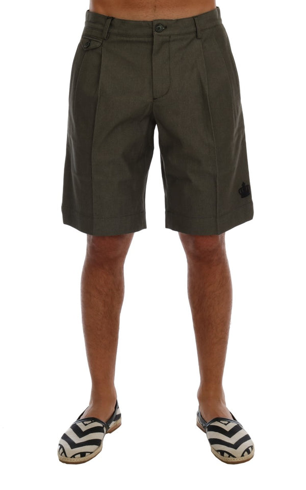 Gray Cotton Crown Shorts