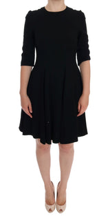 Black Viscose Shift Dress