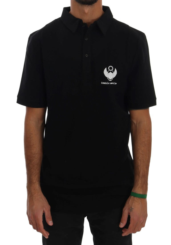 Black Cotton Stretch Polo T-Shirt