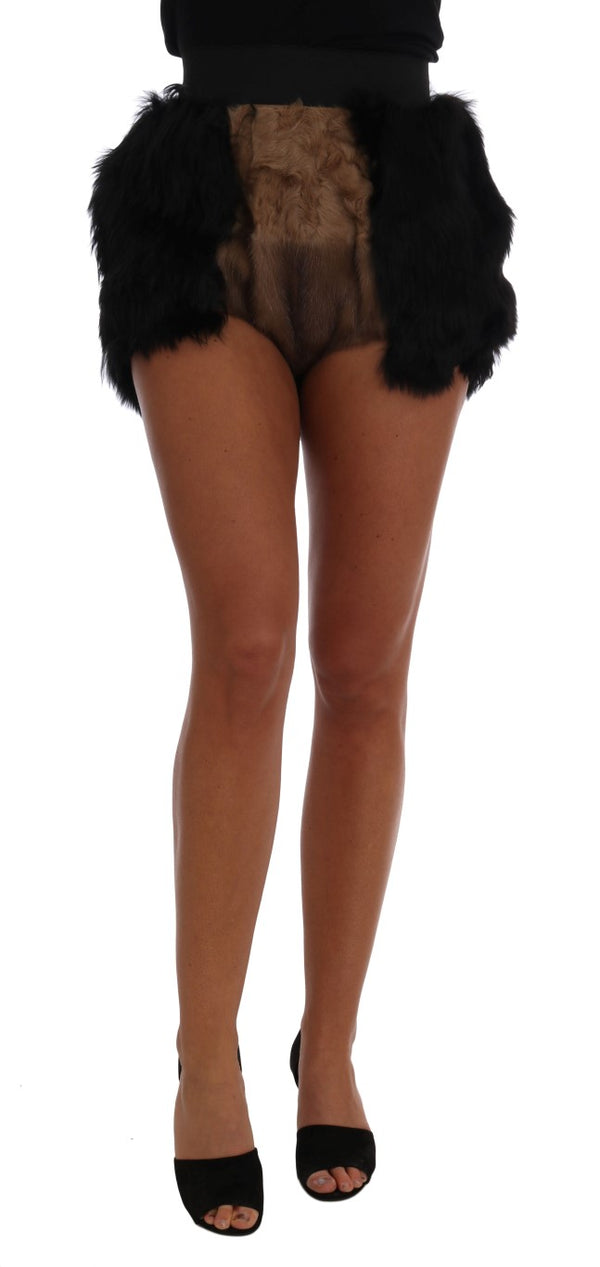 Black Mink Nutria Fur Mini Hot Pants