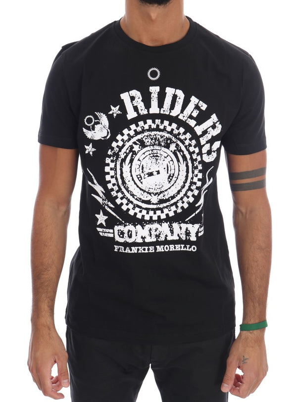 Black Cotton RIDERS Crewneck T-Shirt
