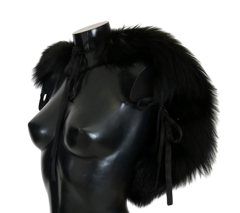 Black Silver Fox Fur Scarf