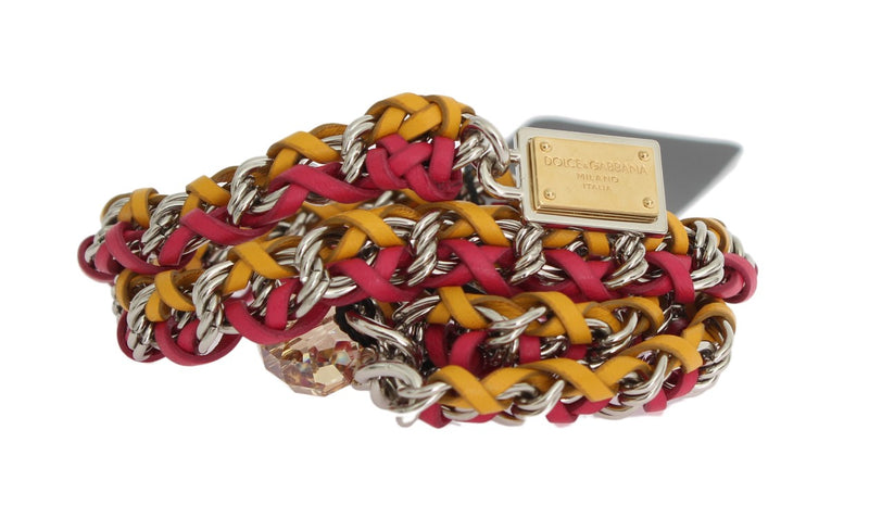 Red Yellow Leather Crystal Belt