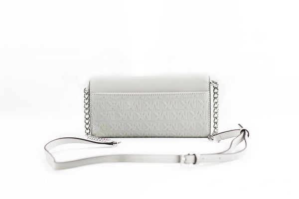 Jet Set Vegan Leather Embossed Large Chain Wallet (Aluminum)