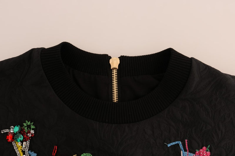 Black Brocade Cocktail Crystal Sweater