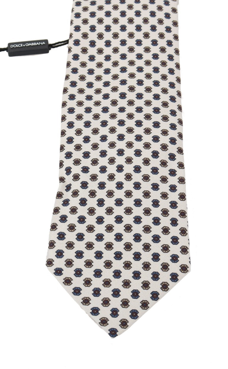 White Silk Pattern Tie