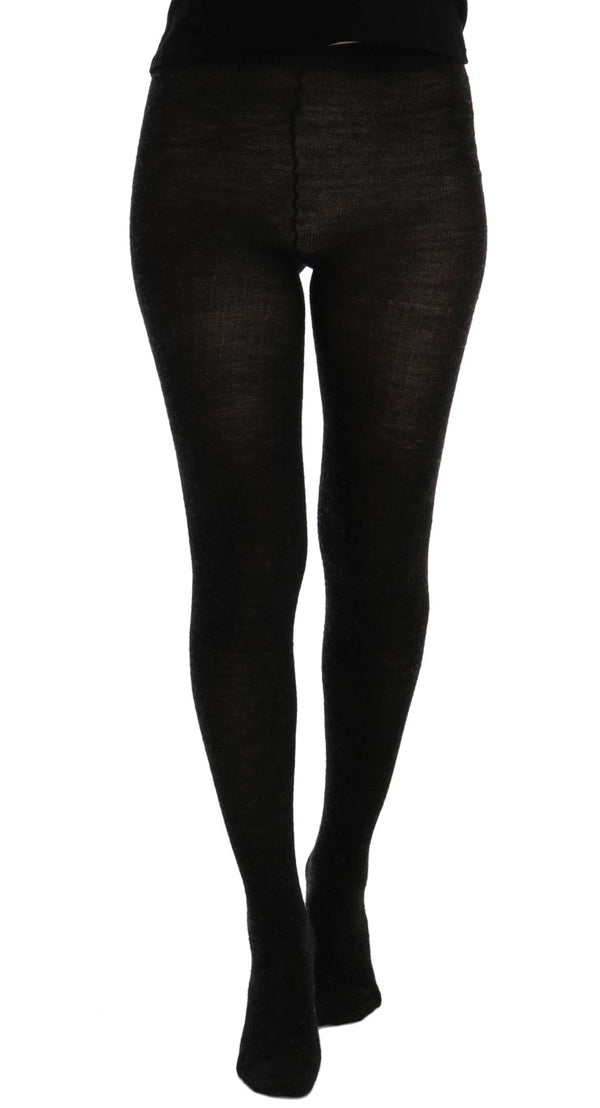 Gray Wool Blend Stretch Tights