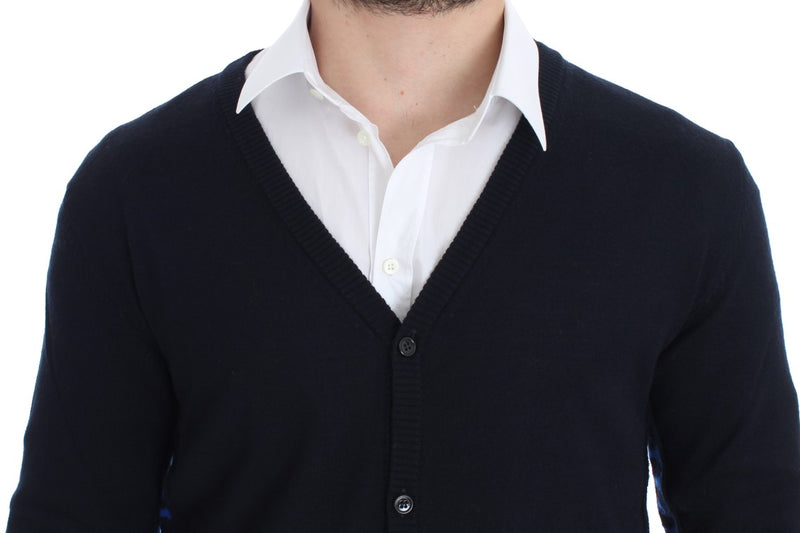 Blue Wool Button Down Logo Cardigan