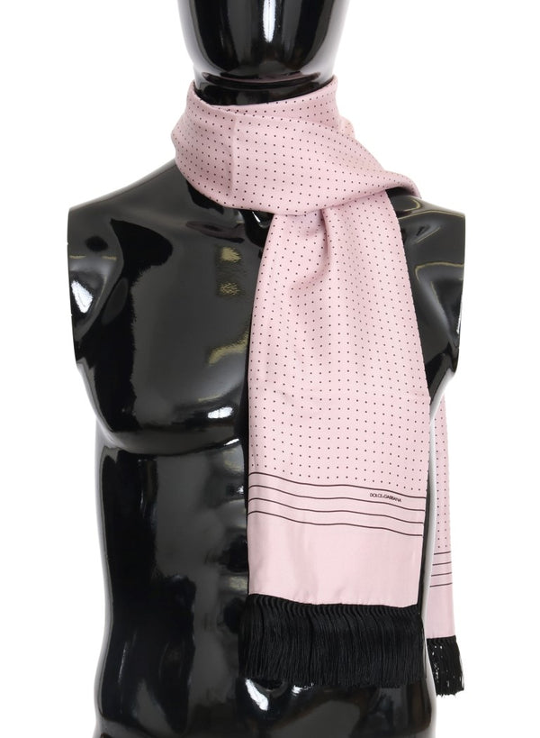 Pink Polka Dotted Silk Fringes Scarf