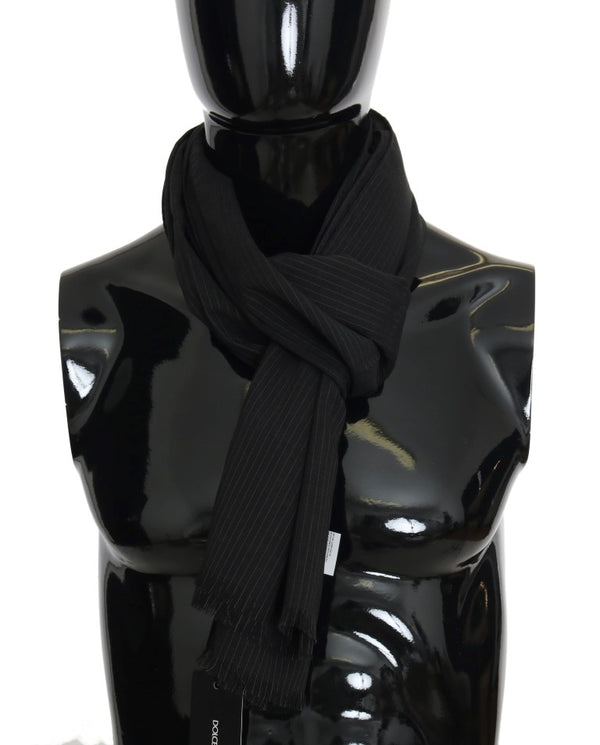 Black Wool Striped Pattern Scarf