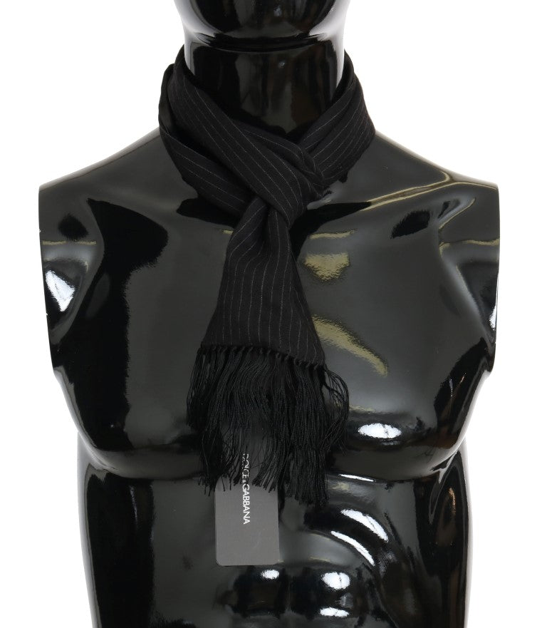 Black Wool Silk Striped Pattern Scarf