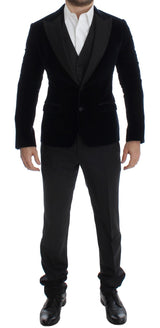 Blue Velvet Gray 3 Piece Slim Fit Suit