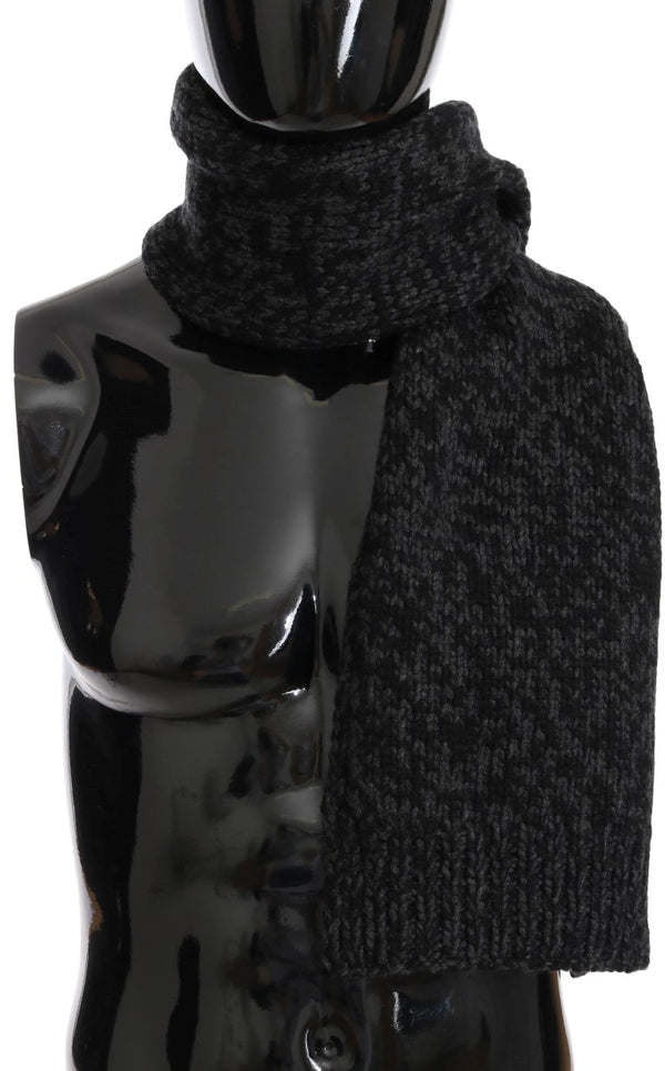 Black Gray Cashmere Woven Scarf