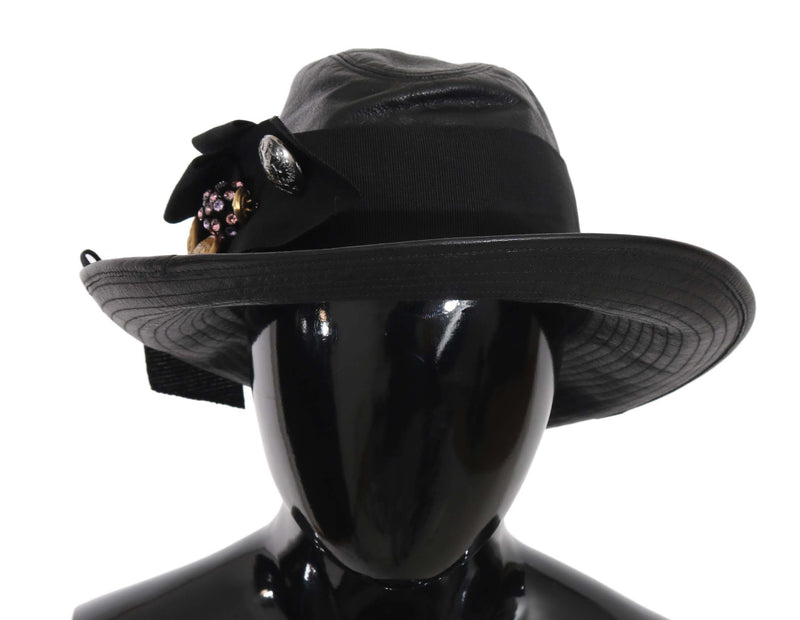Black Leather Wide Brim DG Coin Crystal Hat