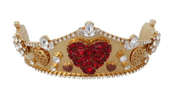 Gold Brass Red Crystal Heart Head Tiara Crown