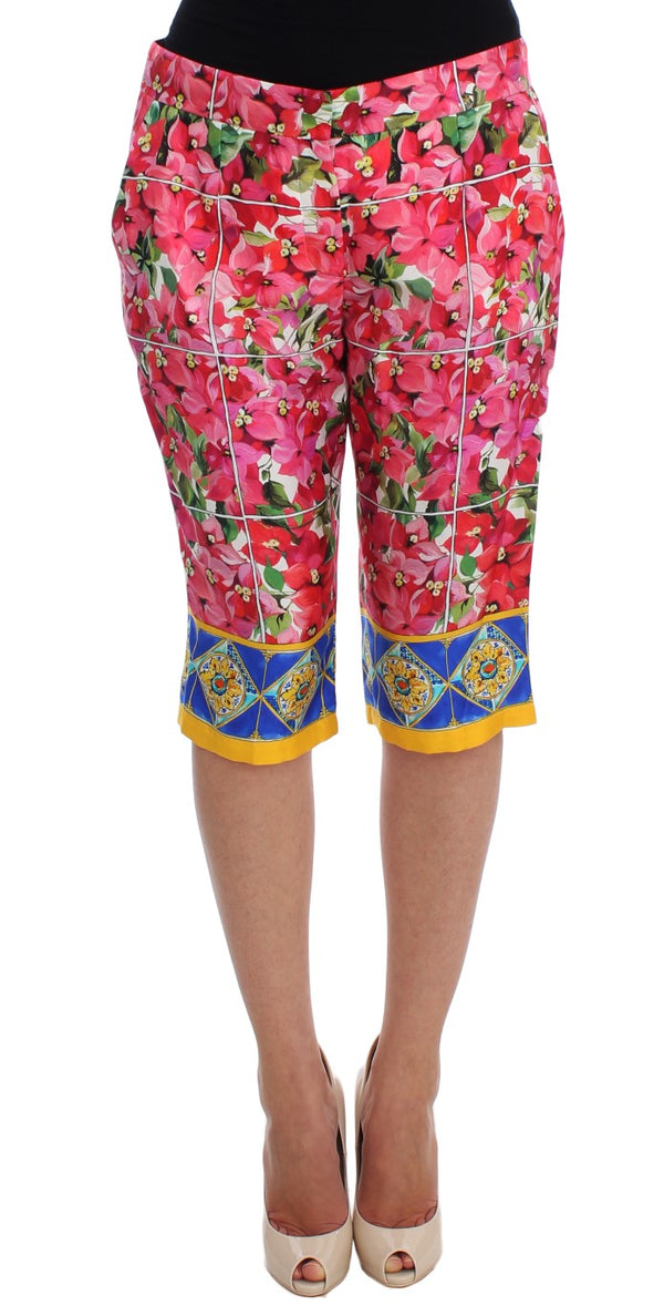 Multicolor Floral Knee Capris Shorts Pants