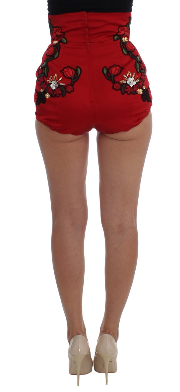Red Silk Crystal Roses Shorts