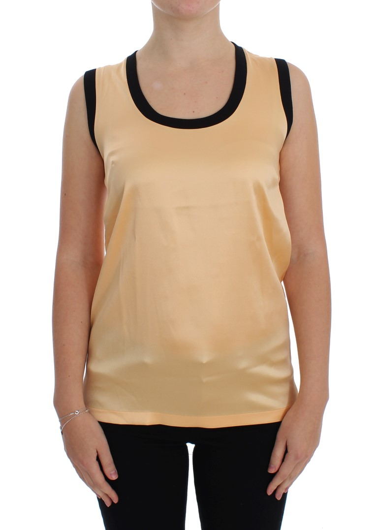Yellow Silk Stretch Top Blouse T-shirt