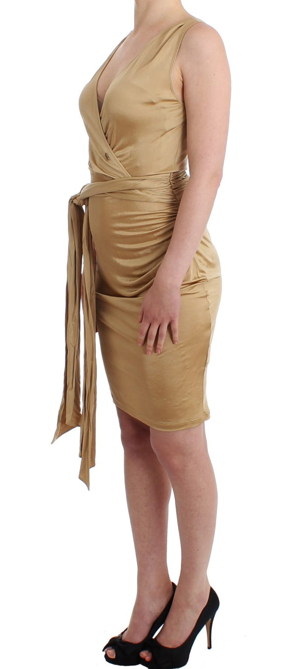 Beige Wrap Coctail Dress