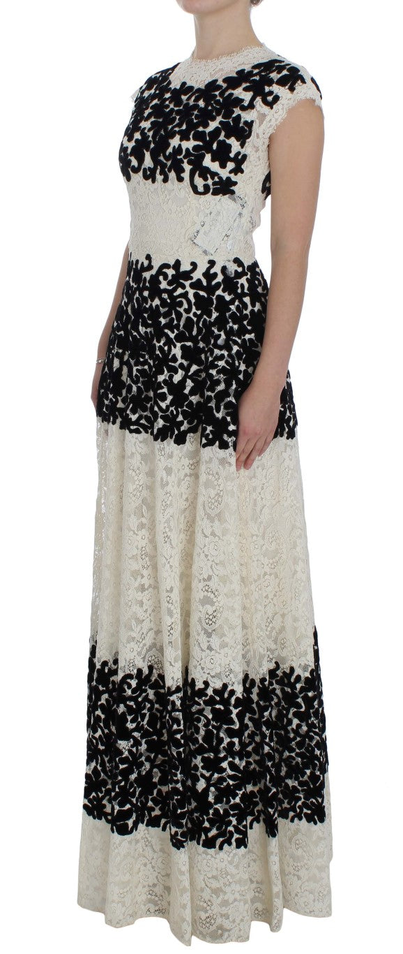Floral Lace Ricamo Long Ball Maxi Dress