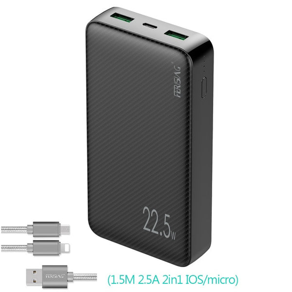 FERISING 20000mah Power Bank 22.5W Fast Charging PD QC 4.0 3.0 Type C Powerbank External Battery Charge Phone Portable Charger