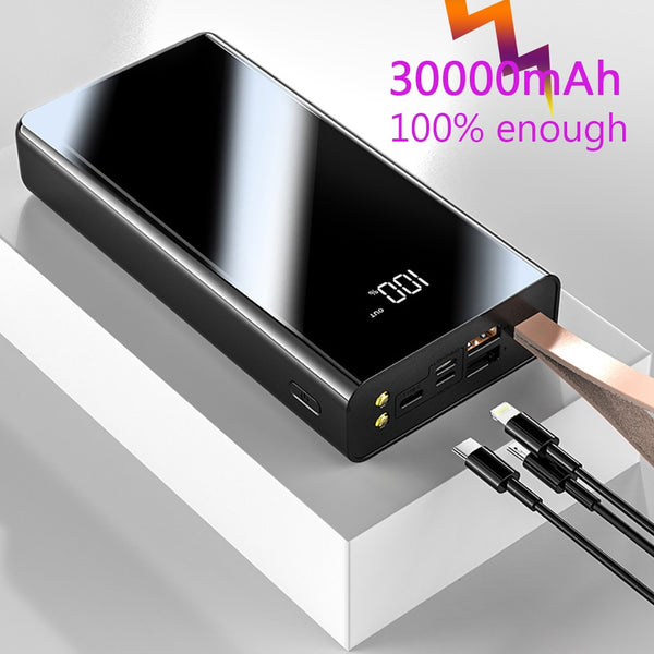 FERISING 30000mAh Power Bank Dual USB Powerbank External Battery With LED Display Fast Portable Charger For Xiaomi For iPhone
