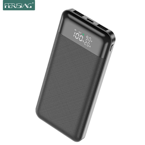 FERISING LED 10000mah 2000mah Power Bank Portable Charger USB Type C PD3.0 QC 3.0 Fast Charging Powerbank External Battery
