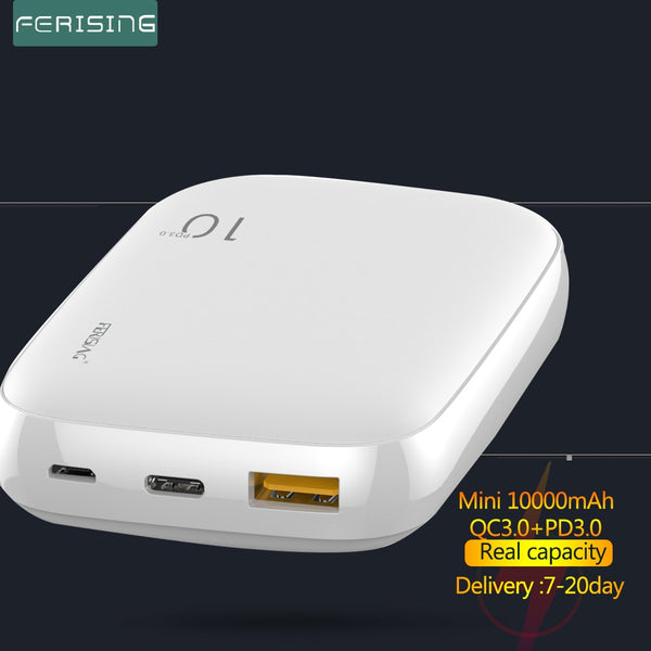 FERISING Mini 18W Power Bank 10000mAh Portable External Battery Fast Quick Charger USB Type C QC 4.0 3.0 for Xiaomi Powerbank