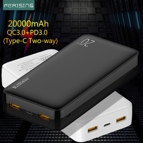 FERISING Power Bank 20000mAh Portable External Battery Charger QC PD 3.0 Poverbank for Xiaomi 20000 mah Fast Charging PowerBank