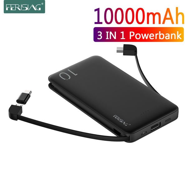 FERISING With Cable Power Bank 10000mAh USB Portable Charger PowerBank External Battery Charging Pack For iPhone Samsung Xiaomi