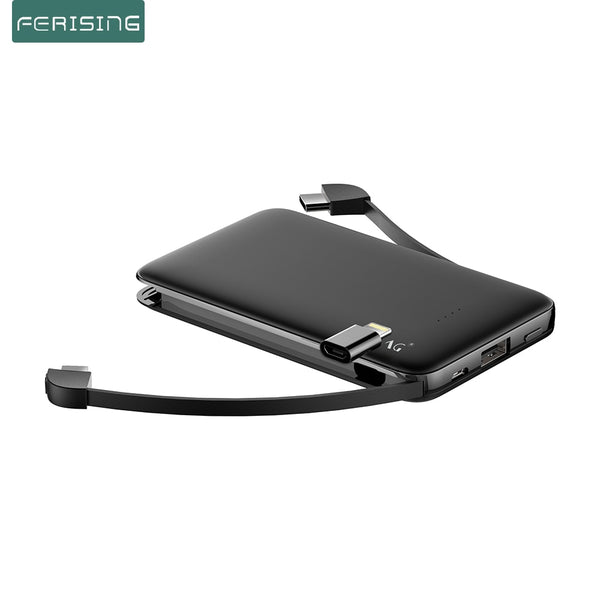 FERISING With Cable Power Bank 5000mAh USB Type C Portable Charger PowerBank External Battery Charge For iPhone Xiaomi Samsung