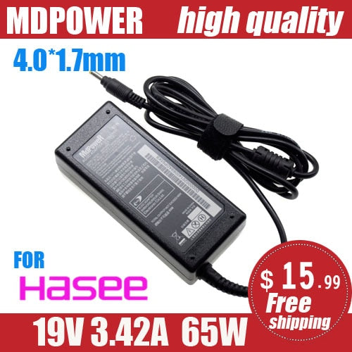 FOR HASEE 19V 3.42A 65W 4.0*1.7mm Laptop AC Adapter power Charger UT43 UT45 TU47 UI43 UI47 UI45 UI41R/G/S/B UN47 D1 D2 D3
