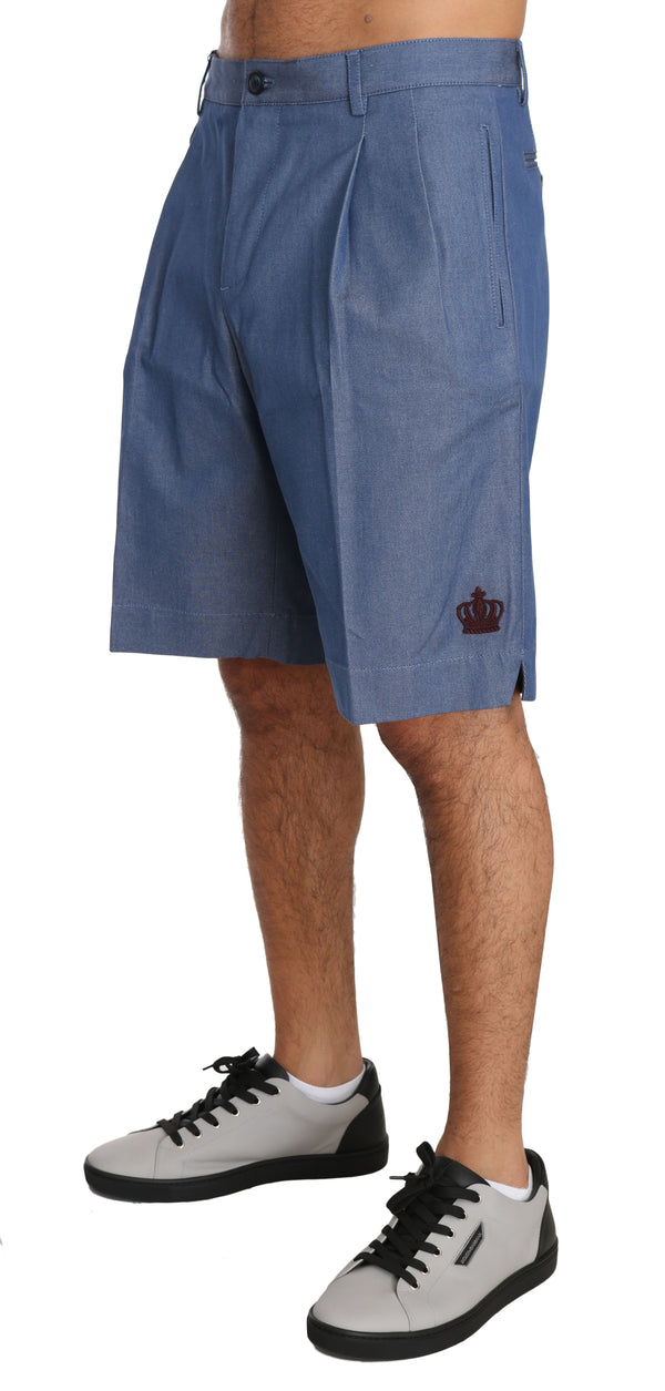 BYX1306Blue Cotton Crown Chinos Knees High Shorts