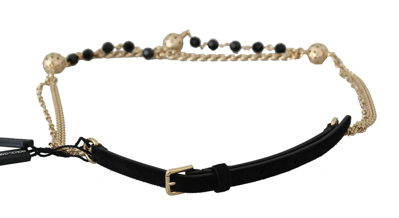 Black Suede Gold Chain Crystal Studs Waist  Belt