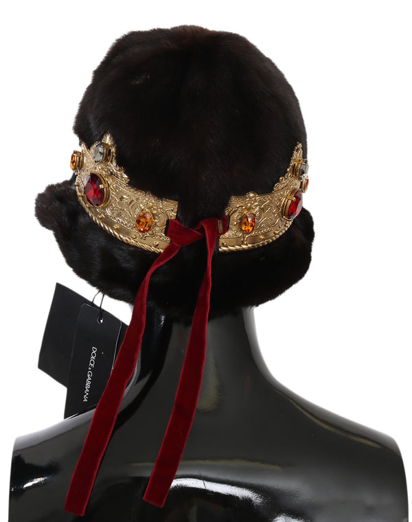 Brown Mink Fur Women Beanie Crystal Crown