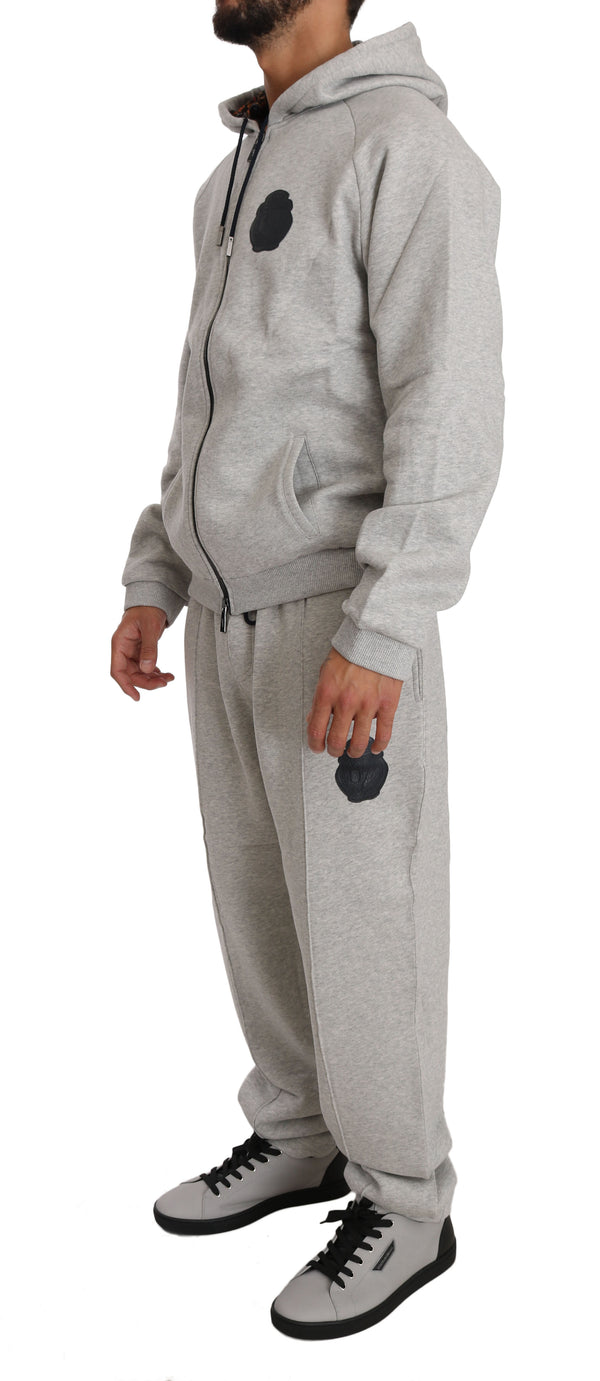 Gray Cotton Sweater Pants Tracksuit  Set