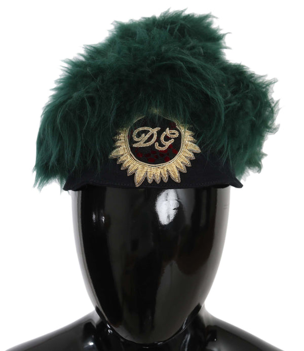 Green Fur DG Logo Embroidered Cloche Hat