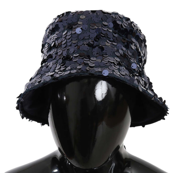 Blue Sequined Polyester Bucket Cap Women Hat
