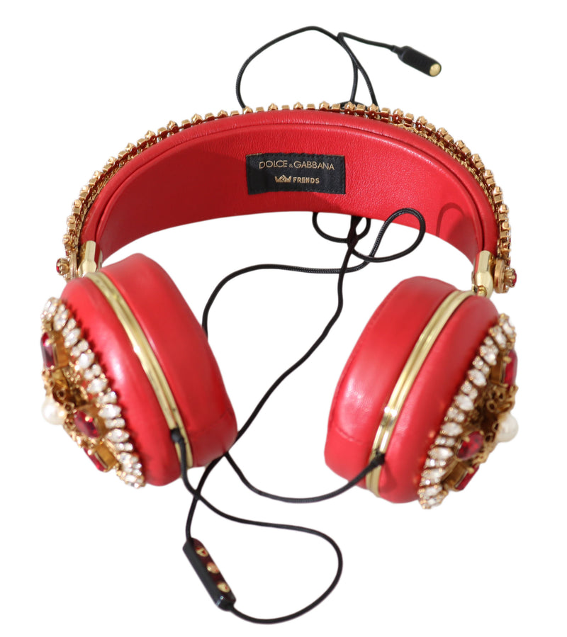 Red Crystal Studs Leather Headset Audio AUX  Headphones