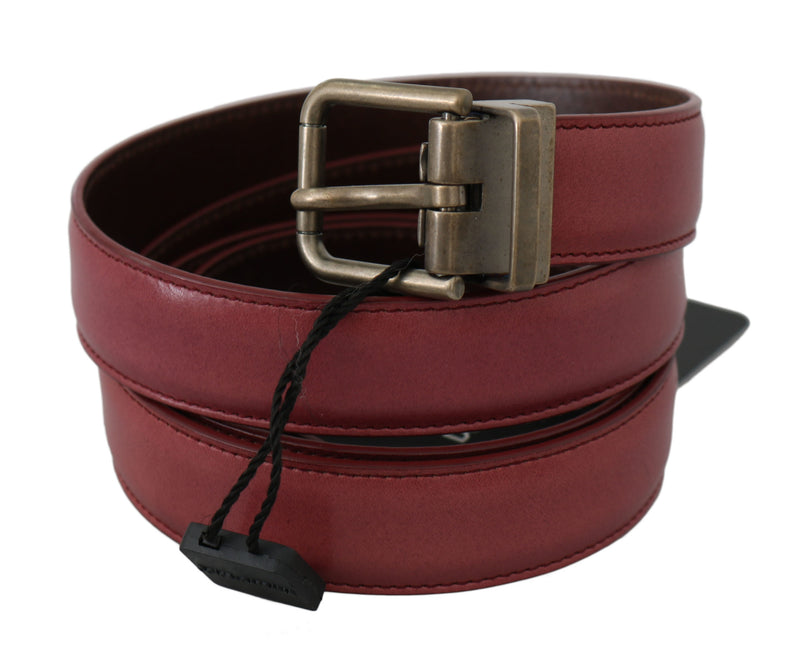 Pink Purple Leather Gray Metal Buckle Belt