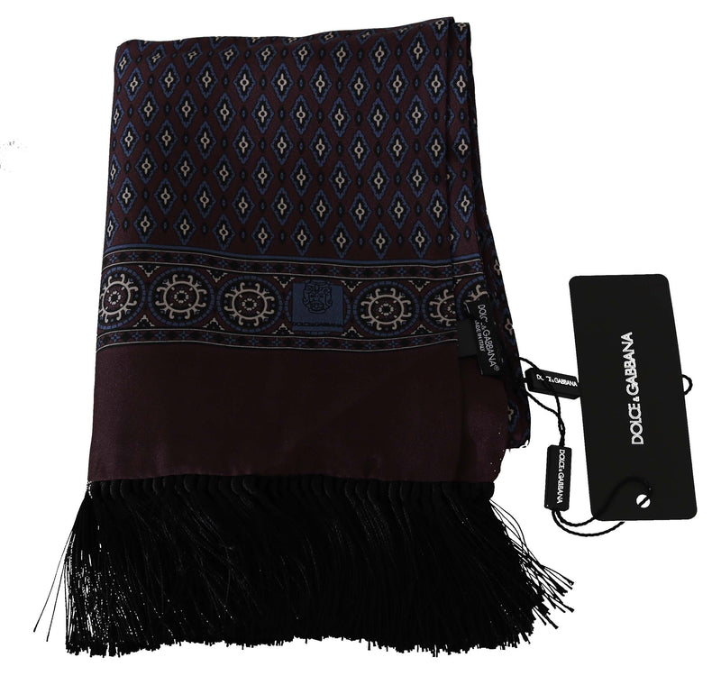 Maroon Baroque Print Fringes Mens Scarf