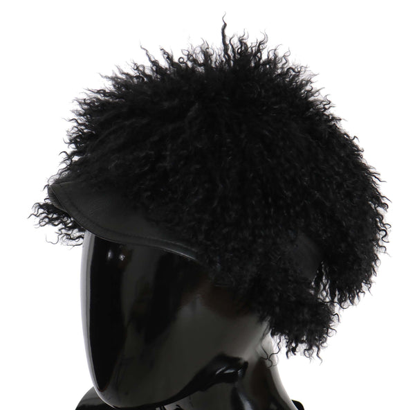 Black Tibet Lamb Fur Leather Gatsby Hat