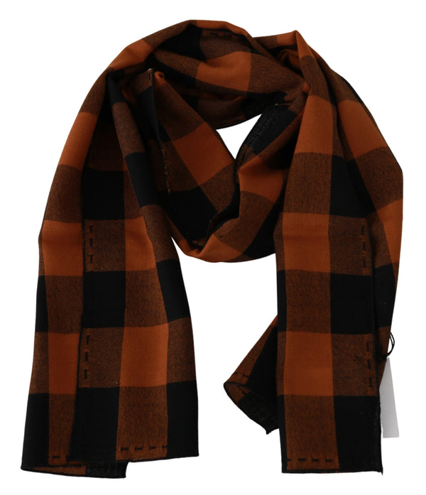 Orange Check Neck Wrap Shawl Scarf