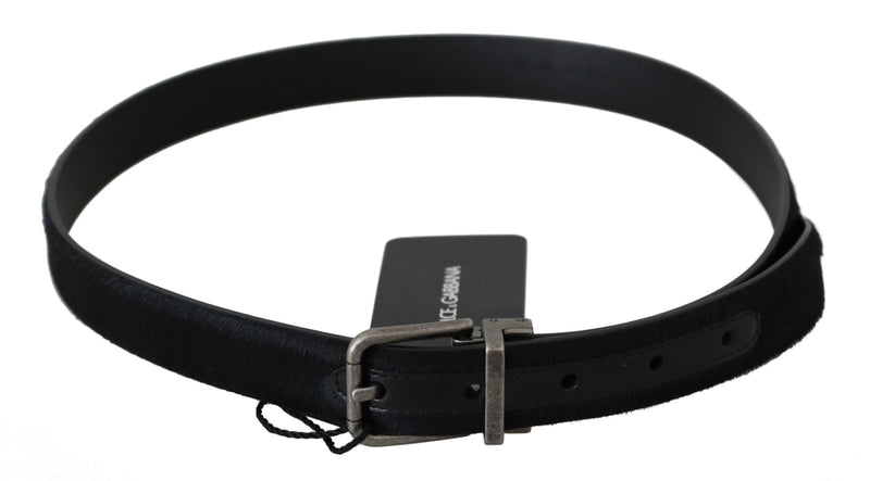 Black Fur Leather Silver Buckle Belt