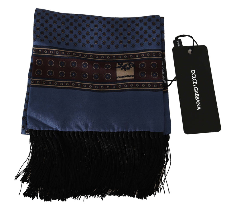 Blue Baroque Tassel Mens Silk Scarf