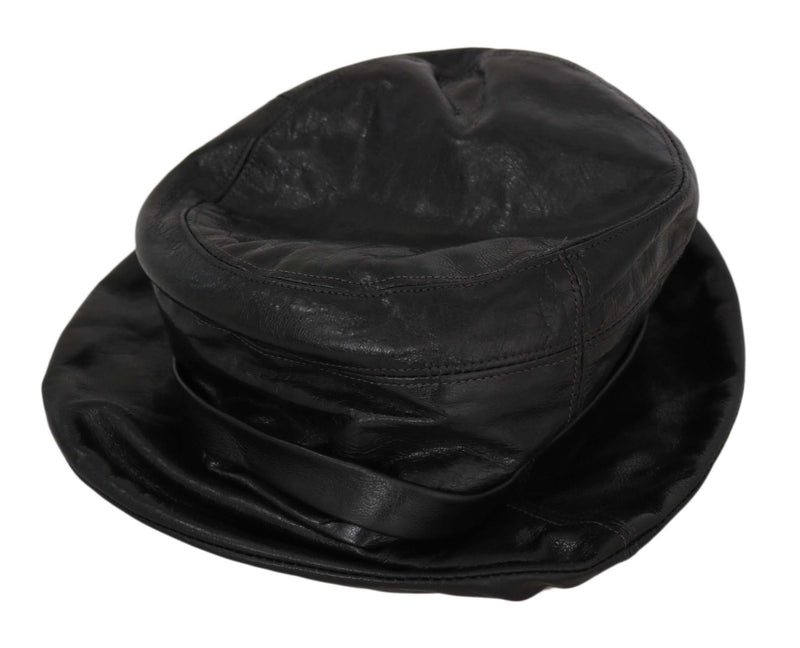 Black Goat Leather Bucket Cap Women Plain