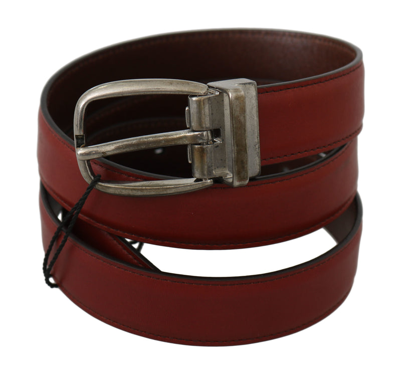 Bordeaux Red Leather Metal Buckle Belt